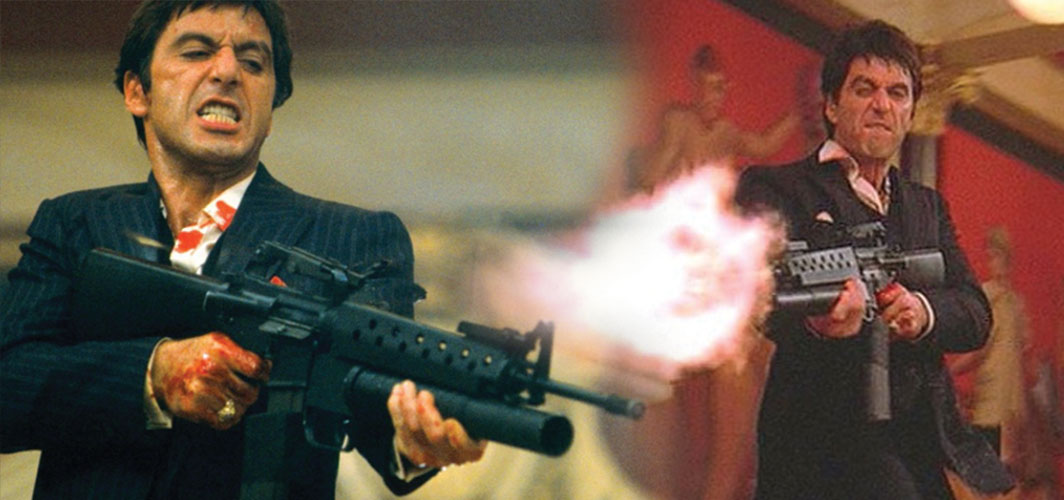 "The most Awesome Guns in Film - ""My Little Friend"" – Scarface"