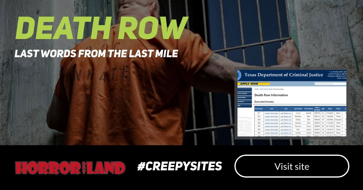 Death Row - The 12 Creepiest Websites On The Internet - Horror Land