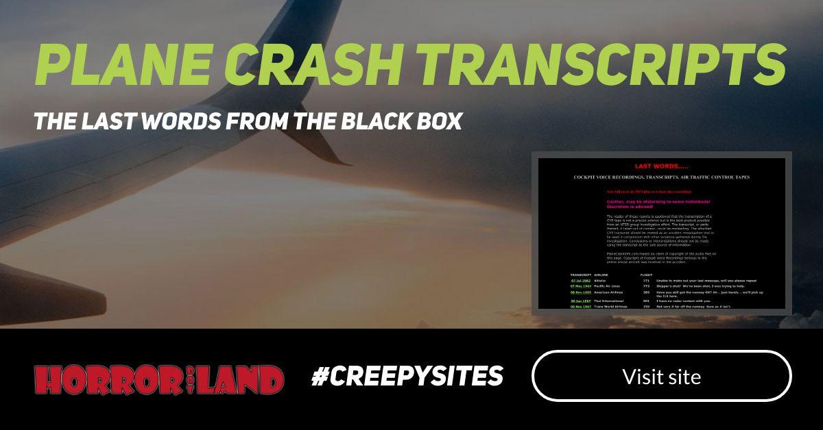Plane Crash - The 12 Creepiest Websites On The Internet - Horror Land